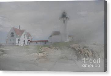 Fog At Eastern Point Canvas Print by Skip Willits