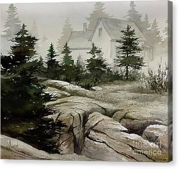 Canvas Print featuring the painting Fog At The Coast by James Williamson
