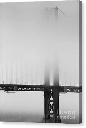 Fog At The Golden Gate Bridge 4 - Black And White Canvas Print by Wingsdomain Art and Photography