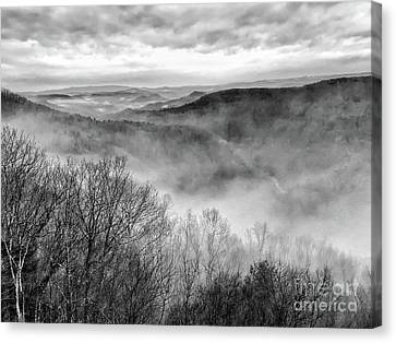 Canvas Print featuring the photograph Fog In The Mountains - Pipestem State Park by Kerri Farley