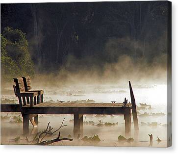 Fog On Lake Jeffords Canvas Print by Judy  Waller