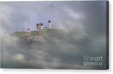 Nubble Lighthouse Canvas Print - Fog On The Nubble by Skip Willits