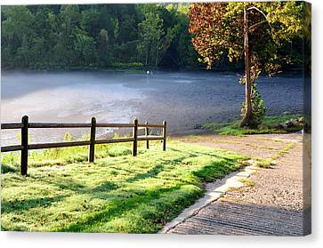 Fog On The River Canvas Print by Betty LaRue
