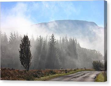 Canvas Print featuring the photograph Fog On The Road To Fintry by RKAB Works