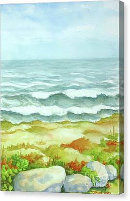 Canvas Print featuring the painting Fog Over Cocoa Beach by Inese Poga