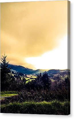 Fog Over Farmland Canvas Print