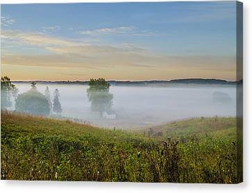 Fog Shrouded Valley Forge Canvas Print by Bill Cannon