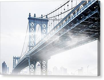 Fog Under The Manhattan Canvas Print by Az Jackson