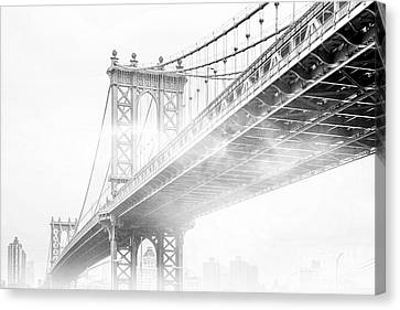 Early Morning Canvas Print - Fog Under The Manhattan Bw by Az Jackson