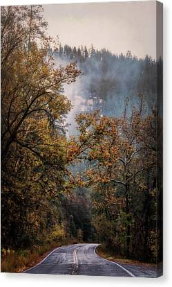 Foggy Autumn Road  Canvas Print by Saija Lehtonen
