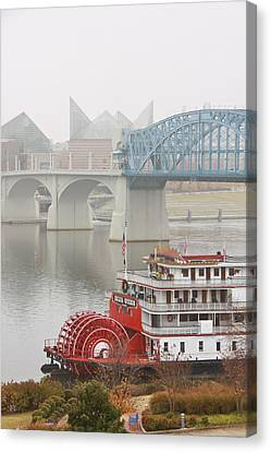 Foggy Chattanooga Canvas Print by Tom and Pat Cory
