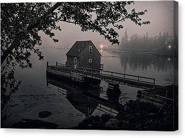 Foggy Cove And Shanty Canvas Print by Marty Saccone