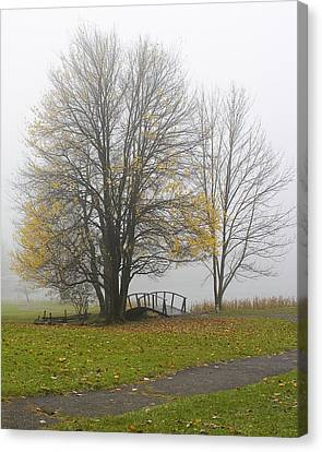 Canvas Print featuring the photograph Foggy Crossing by Alan Raasch