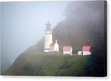 Canvas Print featuring the photograph Foggy Day At The Heceta Head Lighthouse by AJ Schibig