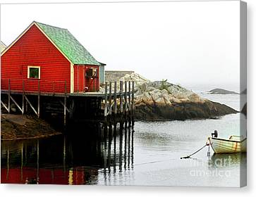 Canvas Print featuring the photograph Foggy Day On The Atlantic Ocean by Elaine Manley