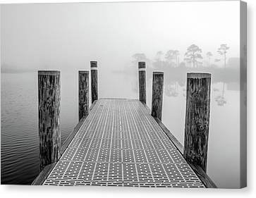 Canvas Print featuring the photograph Foggy Dock In Alabama  by John McGraw