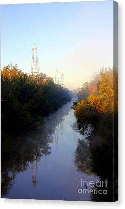 Foggy Fall Morning On The Sabine River Canvas Print by Kathy  White