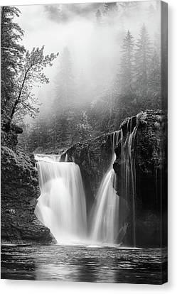 Foggy Falls Monochrome Canvas Print