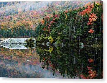 Canvas Print featuring the photograph Foggy Foliage Morning Kinsman Notch by Jeff Folger