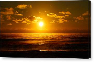 Foggy Gold Sunrise Canvas Print