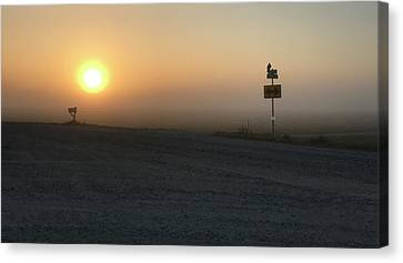 Foggy Hawkeye Sunrise  Canvas Print by Jame Hayes
