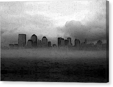 Foggy Manhatten Black And White Canvas Print