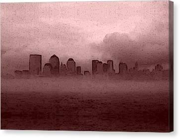 Foggy Manhatten Warm Canvas Print