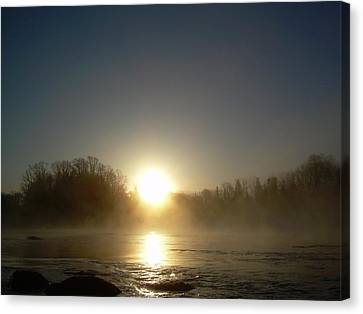 Canvas Print featuring the photograph Foggy Mississippi River Sunrise by Kent Lorentzen