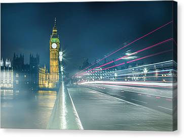 Foggy Mist Covered Westminster Bridge Canvas Print by Martin Newman