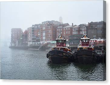 Foggy Moran Tugboats Canvas Print by Eric Gendron