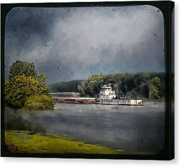 Foggy Morning At The Barge Harbor Canvas Print