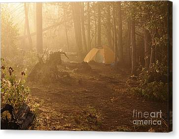 Foggy Morning At The Campsite Canvas Print