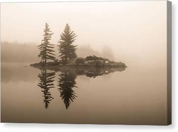 Foggy Morning Caution Canvas Print
