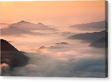 Foggy Morning In The Mountains Canvas Print by Fproject - Przemyslaw Kruk
