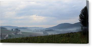 Foggy Morning In The Valley Canvas Print by Liz Allyn
