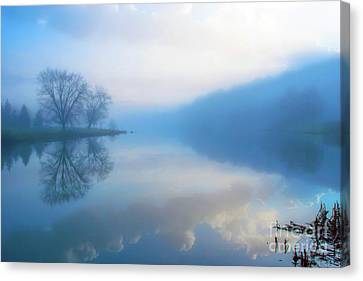 Foggy Morning Lake Sunrise II Canvas Print by Randy Steele