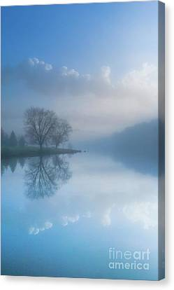 Foggy Morning Lake Sunrise Canvas Print by Randy Steele
