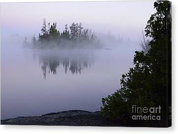 Foggy Morning On Little Saganaga Lake Canvas Print by Larry Ricker