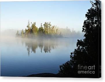 Foggy Morning On Little Saganaga Canvas Print