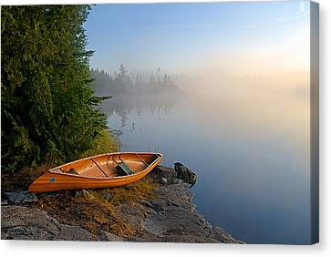 Foggy Morning On Spice Lake Canvas Print by Larry Ricker