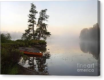 Foggy Morning On The Kawishiwi River Canvas Print by Larry Ricker
