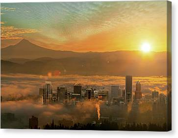 Foggy Morning Over Portland Cityscape During Sunrise Canvas Print by David Gn