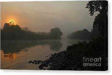Foggy Morning Red River Of The North Canvas Print by Steve Augustin