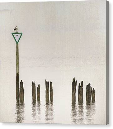Canvas Print featuring the photograph Foggy Morning Texture Keyport Harbor by Gary Slawsky