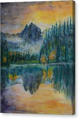 Foggy Mountain Lake Canvas Print by David Frankel