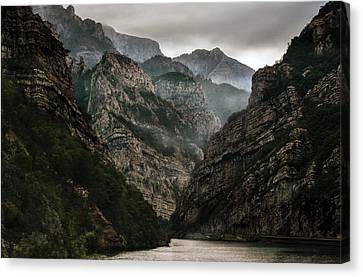Foggy Mountains Over Neretva Gorge Canvas Print