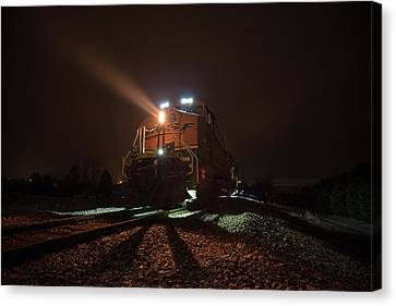 Canvas Print featuring the photograph Foggy Night Train  by Aaron J Groen