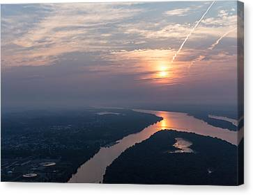 Foggy Pink Sunrise Over The Ottawa River Canvas Print by Georgia Mizuleva