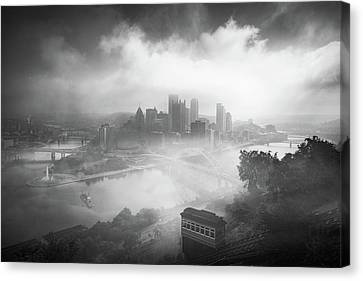 Canvas Print featuring the photograph Foggy Pittsburgh  by Emmanuel Panagiotakis