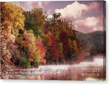 Foggy Price Lake - Autumn In The Blue Ridge Ap Canvas Print by Dan Carmichael